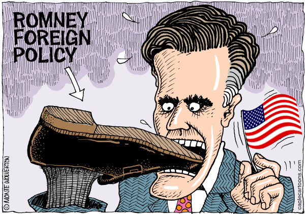 Mitt Romney trying to pull his foot out of his mouth